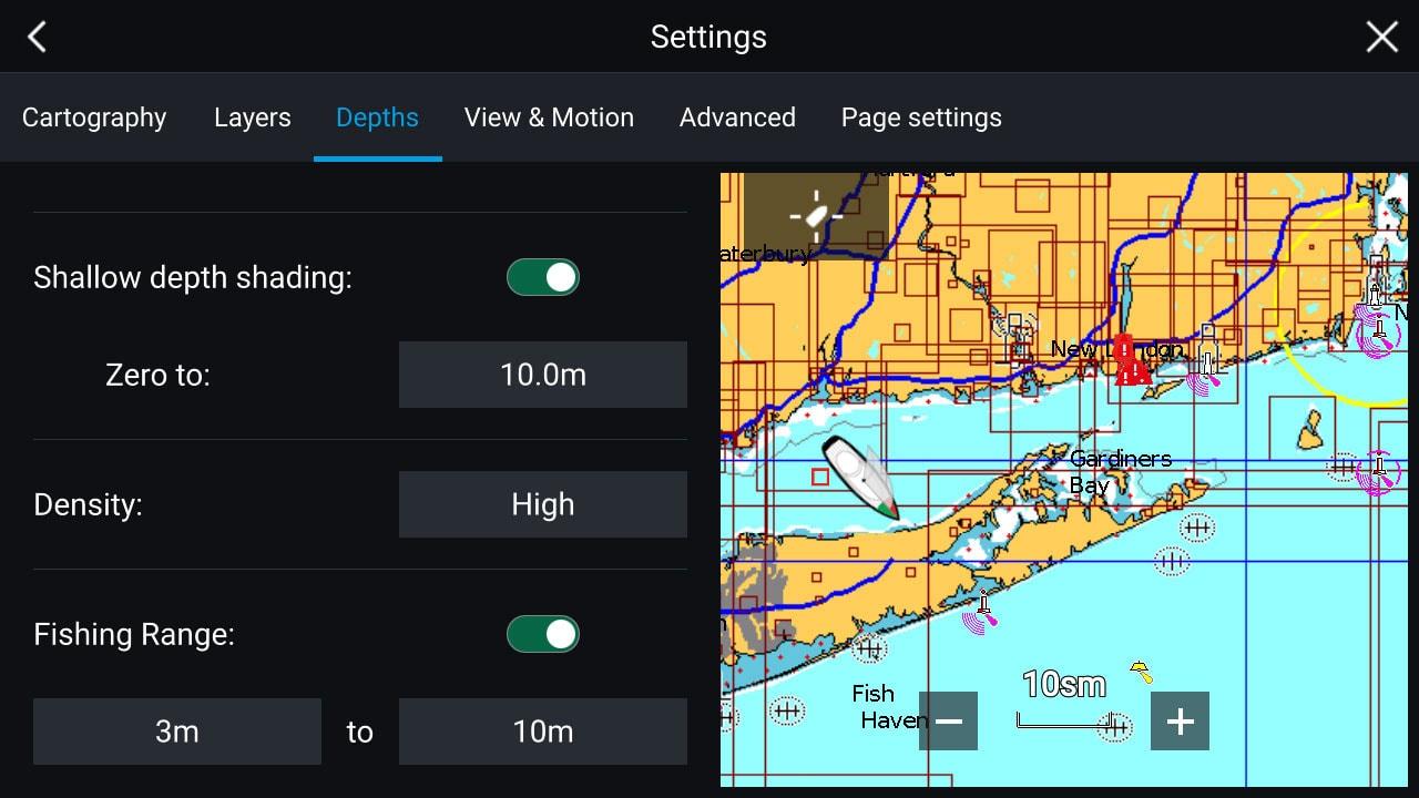 ELCOME Raymarine Navionics - Advanced map options Screenshot